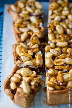 Brown Butter Blondies with Peanut-Pretzel Caramel