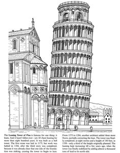 Leaning Tower of Pisa - Wonders of the World sample pages @ Dover Publications