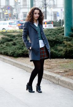 Schoolgirl streetstyle #fashion #style #outfit ,  in Coats,  in Skirts,  in Cardigans, H&M in Shirt / Blouses,  in Oxfords / Derbies, Calzedonia in Socks / Tights