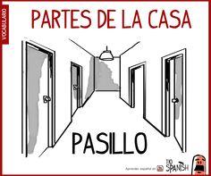Pasillo, partes de la casa - vocabulario español intermedio