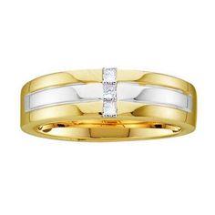 14KT Yellow Gold Two Tone 0.15CTW DIAMOND MEN'S FASHION BAND WITH 3STONE PRINCESS-CUT