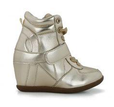 Metallic Kids Wedge Sneaker - GOLD