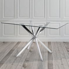 Modern Rectangle Glass and Metal Dining Room Kitchen Table Metal Dining Table, Dining Table In Kitchen, Dining Tables, Room Kitchen, Side Tables, Dining Area, Furniture Deals, Dining Furniture, Polished Chrome
