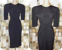 Vintage 80s Dress   Retro 1940s Dress   1980s Bow Waist   Draped & Ruched Rayon   Size 8 M