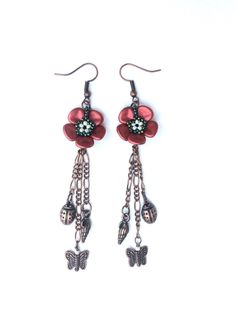 Beadwork red flower petal dangle earrings by craftybeadcollection on Etsy https://www.etsy.com/listing/469176031/beadwork-red-flower-petal-dangle