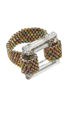 Ring with Delica® Seed Beads and Swarovski® Crystal Bead Square