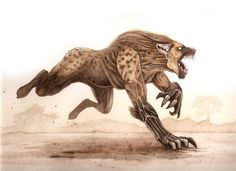 In Western Sudanic folklore a human hyena hybrid creature is depicted as a cannibalistic monster who nightly transforms and terrorizes people, especially lovers Mythology Africa