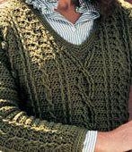 Free Crochet Fisherman Sweater Pattern from http://www.coatsandclark.com/Crafts/Crochet/Projects/TV+Projects/KCT0016+Fisherman+Sweater.htm.