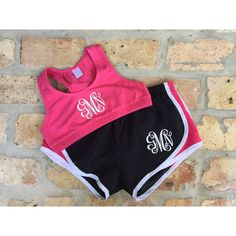 Monogrammed Sports Bra and Shorts Combo ($41) ❤ liked on Polyvore featuring activewear, black and women's clothing