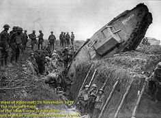 The First Battle of Cambrai (November 20 - December 6, 1917) West of Ribecourt, November 20, 1917. The hyacinth Tank of the Tank Corps' H Battalion is shown stuck in a German second line trench.
