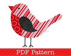 bird applique patterns free | Robin Applique Template PDF Pattern Bird Animal Christmas Robin Design ...