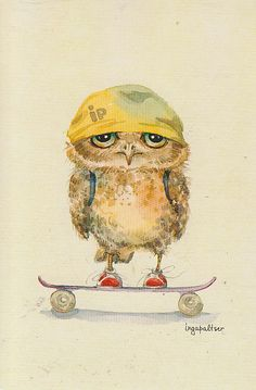 Inga Palster has the cutest series of owl watercolors Art Fantaisiste, 3d Art, Art And Illustration, Art Illustrations, Art Mignon, Whimsical Owl, Paper Owls, Owl Pictures, Wise Owl