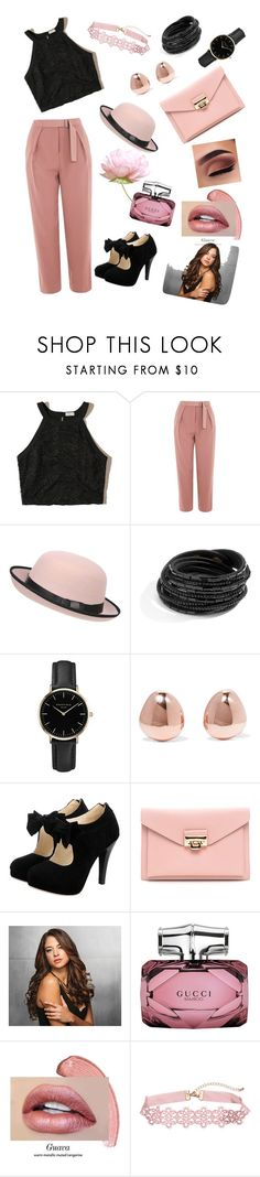 """""""Black and pink"""" by luisferni-1988 ❤ liked on Polyvore featuring Hollister Co., Topshop, Pilot, ROSEFIELD, Monica Vinader, Ken Paves and Gucci"""