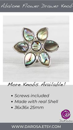 Small Flower Cabinet Knob with Abalone Inlay image 7