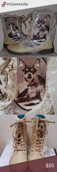 Steampunk Tattooed Chihuahua Boots, Size 8/9 Handcrafted (BY ME!) lace up boots with vintage circus style decoupage. Features a chihuahua head on a human tattooed body. Tea stained lace around the photo adds a touch of femininity to the boots. The boots themselves are a RUE 21 brand, tagged size 8/9.  Sealed with several layers of clear coat spray.  ***My shoes are handcrafted and should be regarded as delicate. Rough wear and tear will tear off the designs and ruin the shoe.*** Rue21 Shoes…