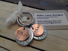 I ordered these before for my husband and I! Absolutely love them :) One Customized Lucky Us Penny Keychain with initials by AlderLane, $7.00