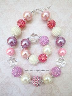 Little Girl Chunky Necklace, Little Girl Bubblegum Necklace, Children Necklace, Girl Chunky Necklace Baby Necklace, Kids Necklace, Girls Necklaces, Necklace Set, Necklace Ideas, Princess Jewelry, Princess Cut Rings, Chunky Beads, Chunky Necklaces