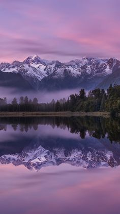 Lake Matheson morning sunrise mountain lake forest mountain landscape Southern Alps New Zealand Sunrise Landscape, Nature Landscape, Forest Landscape, Mountain Landscape, Sunrise Photography, Mountain Photography, Landscape Photography, Nature Photography, Outdoor Photography