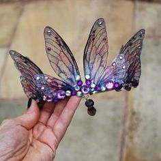 MADE TO ORDER - Atemberaubende neue dunkle lila und rosa Fairy Wing Fairy Queen . - MADE TO ORDER - Atemberaubende neue dunkle lila und rosa Fairy Wing Fairy Queen / Braut / Prom / Pagan Tiara / Krone / Kopfschmuck - - Fairy Crown, Fairy Queen, Fantasy Jewelry, Tiaras And Crowns, Hair Jewelry, Jewellery, Headdress, Pagan, Headbands