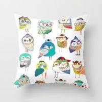 Owls, owl art, owl print, illustration, pattern,  Throw Pillow