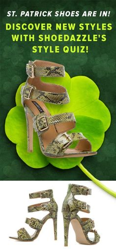 The Perfect St Patrick's Day Shoes Just Arrived! Izabella Rue's summer collection gives exotic treatments an upscale spin. Ballard finishes a vibrant snake print with glossy sheen, complete with buckled straps and back-zip entry.  Discover These Trendy Shoes Named Ballard Along With Other Styles with ShoeDazzle's Style Quiz!