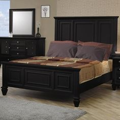 1a6206604b5d Coaster King Size Bed Cape Cod Style in Black Finish This collection is  crafted with tropical hardwoods and veneers in black finish.