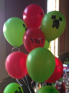 Minecraft party balloons drawn on creeper and TNT for Abriel's birthday party!