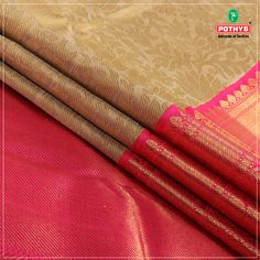 Give ethnicity a whole new flair with regal colors, rich embroidery and pure jari work.  The weaves perfectly go with the red borders and golden work sure to leave you awestruck.  Grab this #kanchipuram #silksaree Now -  #ethnic #silksaree #cotemporarysilk #southindia #weavesofindia #silksarees #kanchipuramsilks