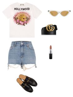 """""""L burgers"""" by miumiudeleeuw on Polyvore featuring Gucci, River Island, Le Specs and MAC Cosmetics"""