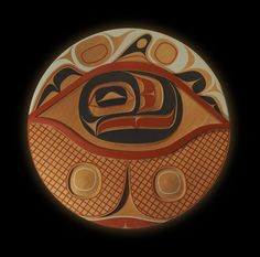 "One's Vision Rande Cook Northwest Coast (Kwakwaka'wakw) red cedar, paint 52"" (diameter),1 1/2"" (depth) 2011"