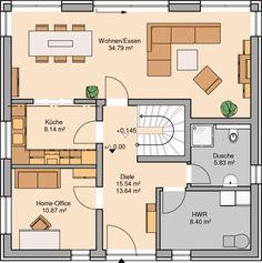 Massivhaus Kern-Haus Stadtvilla Centro Grundriss Erdgeschoss - Eva Architektur Home Architecture Plan, Ground Floor, My Dream Home, Townhouse, Beautiful Homes, Building A House, House Plans, New Homes, Floor Plans