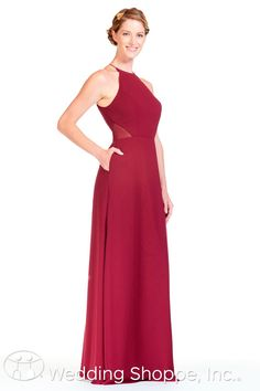 Stunning yet simple bridesmaid dress features luxurious Bella chiffonwith sheer side panels and high halter neckline | Bari Jay Bridesmaid Dress BC-1808 | The Wedding Shoppe