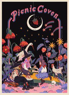 picnic coven, an art print by mochipanko Photo Wall Collage, Collage Art, Pretty Art, Cute Art, Wow Art, Poster Prints, Art Prints, Grafik Design, Aesthetic Art