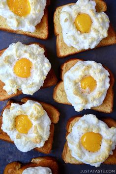 A quick recipe for the lightest, fluffiest cloud eggs on buttery toast. @justataste