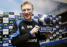 Everton Manager David Moyes with the Barclays Manager of the Month award for October 2010