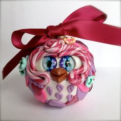 Cherry Blossom  Polymer Clay Owl Ornament w/ by TheNakedPeacock, $14.95