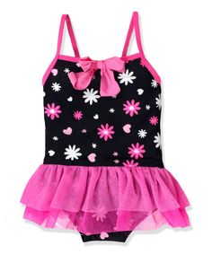 Look at this Jump'N Splash Black Burst Skirted One-Piece - Toddler & Girls on #zulily today!