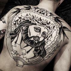 Second session! Thank you Bernardo. @boldwillhold.tattoo #samuelebriganti #backpiece #boldwillhold #posttradtattoo #boldwillholdfirenze | Artist: @samuelebriganti