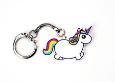 Chubby unicorn keychain, fantasy rainbow fat pony key chain, colorful funny mythical creature, kawaii cute uni by Dorky Dino