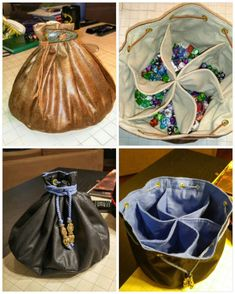 """"""" My husband & I also have a dice problem. So I made dice bags big enough to house & organize them. Sewing Art, Sewing Blogs, Sewing Hacks, Sewing Crafts, Sewing Projects, Bag Patterns To Sew, Sewing Patterns, Dungens And Dragons, Diy Makeup Bag"""
