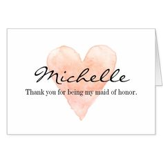 Custom Thank you for being my maid of honor cards