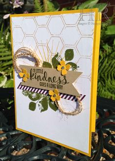 Helen's card: Kinda Eclectic, Blackberry Bliss dsp, Honeycomb embossing folder, Itty Bitty Accents flower punch, Burlap ribbon, & more. All supplies from Stampin' Up!
