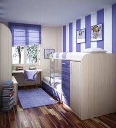 Bedroom, Blue White Vertical Striped Wall Parquet Wooden Floor Laminated Light Blue Carpet Small Bedroom Blue Curtain Glass Window Small Bed...