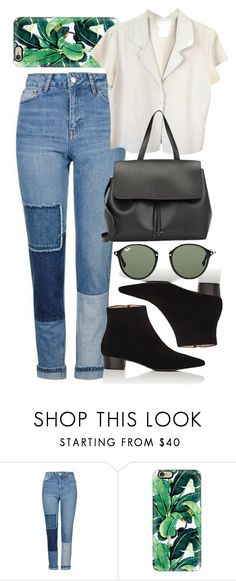 """""""Untitled #5753"""" by rachellouisewilliamson ❤ liked on Polyvore featuring Topshop, Casetify, agnès b., Ambra, Mansur Gavriel and Ray-Ban"""