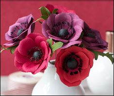 Lia Griffith Crepe Paper Anemone Lia Griffith's famous crepe paper flowers are easier to make than they may seem. Create your own colorful blossoms with an easy-to-follow template, crepe paper, and scissors.