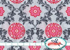 TEA ROSE LATTICE FABRIC by the YARD, FAT QUARTER, OR HALF YARD - You Choose - PINK & GRAY GEOMETRIC FLORAL Print Fabric - Premium Quilting Fabric and