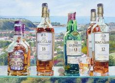 Mary Helmreich   WATERCOLOR    Batiquitos Whiskey Bottles Carlsbad Painting by stefanie