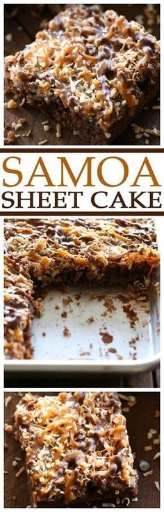 "Samoa Sheet Cake Recipe via Chef in Training ... this has been deemed one of ""Chef in Training""'s Top 5 favorite recipes on her blog! It is one of the best desserts you will ever taste! The Best EASY Sheet Cakes Recipes - Simple and Quick Party Crowds Desserts for Holidays, Special Occasions and Family Celebrations"