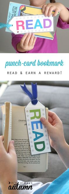 Good idea to encourage and reward reading: free printable punch card bookmarks. Punch a hole each time kids read, and when the card is full they get a reward. Good idea for reluctant readers.