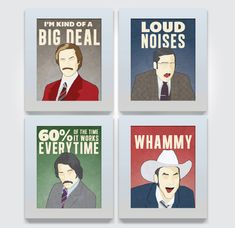 Yeah I need these now.Anchorman Print News Team - 4 Piece 11x14 Poster Set wall art decor humorous Ron Burgandy Brick Tamland Champ Kind Brian Fantana. $75.00, via Etsy.
